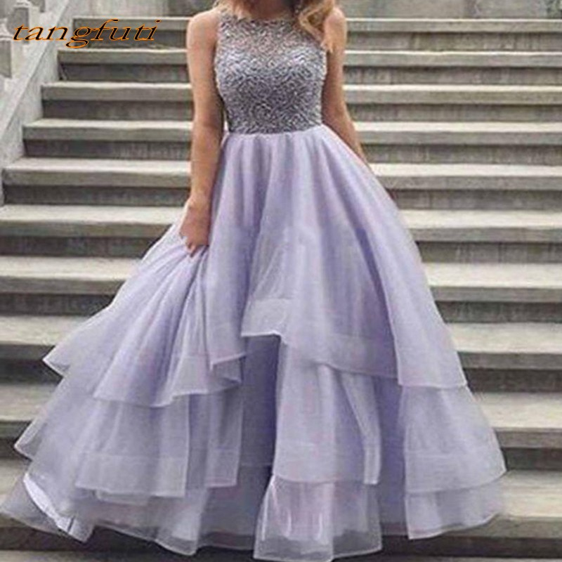 Long   Evening     Dresses   Ruffle Formal   Evening   Beading Pearls Women Party Gown Prom   Dresses   Robe De Soiree 2019 Cheap Wear   Dress