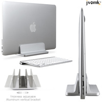 Silver space saving Aluminum Vertical Stand for Laptop MacBook Pro/Air , Thickness Adjustable Desktop NoteBooks Holder Erected