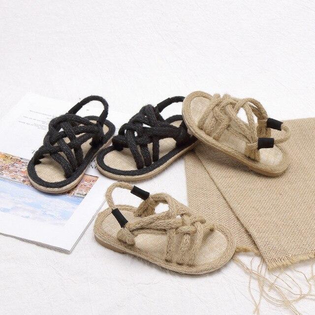 Filles sandales enfants Gladiador Jute Sandalia 2019 été confortable sandales plate-forme plat enfants mode sandales de plage décontractées 1