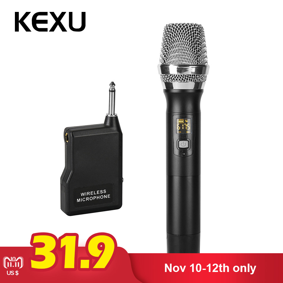 KEXU Professional Wireless Microphone Dynamic UHF ABS Handheld Mic With Receiver For Karaoke Computer PC Singing KTV Microphone