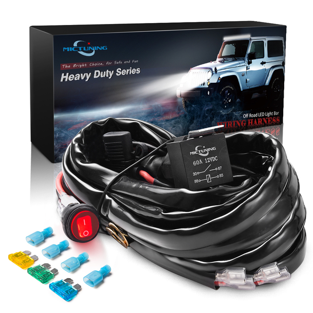 MICTUNING HD+ 12 Gauge 600W LED Light Bar Wiring Harness Kit w