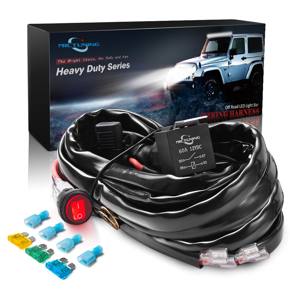 MICTUNING HD+ 12 Gauge 600W LED Light Bar Wiring Harness Kit w/ 60Amp Relay, 3 Free Fuse, On-off Waterproof Switch Red 2 Lead image
