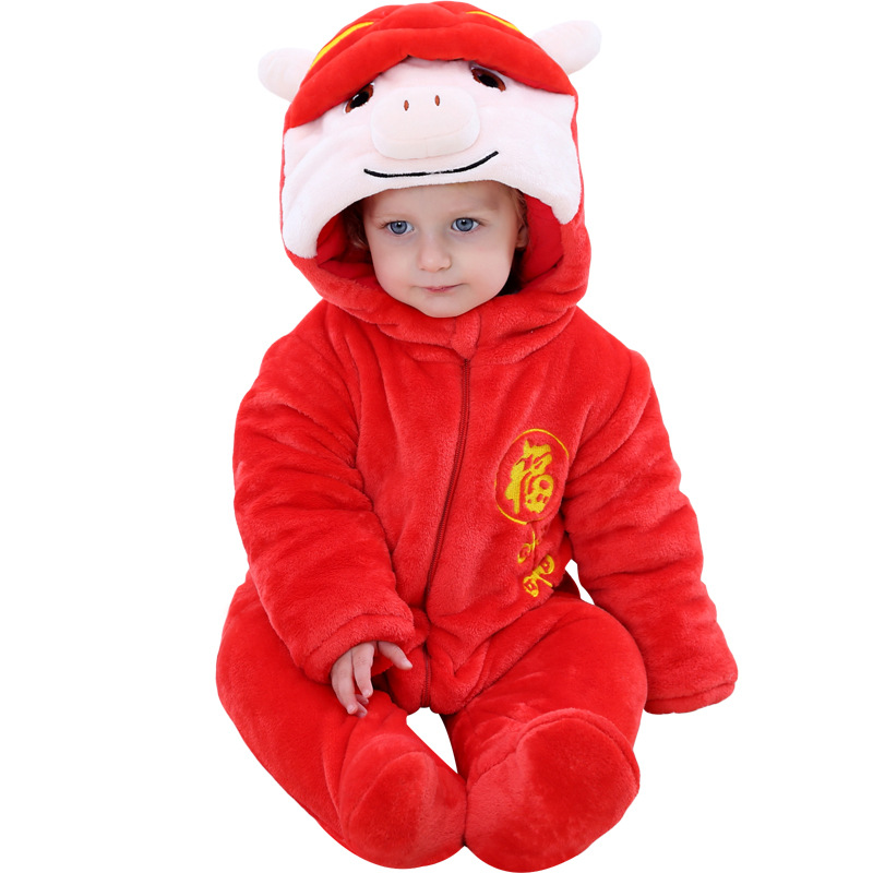 2018 baby new year winter jumpsuits , chinese style cartoon infant coats thicken snowsuit girls boys overalls for kids clothes2018 baby new year winter jumpsuits , chinese style cartoon infant coats thicken snowsuit girls boys overalls for kids clothes