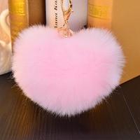 2016 new heart-shaped hair ball Keychain cute rabbit Keychain car simulation Fashion Ladies Handbag Pendant