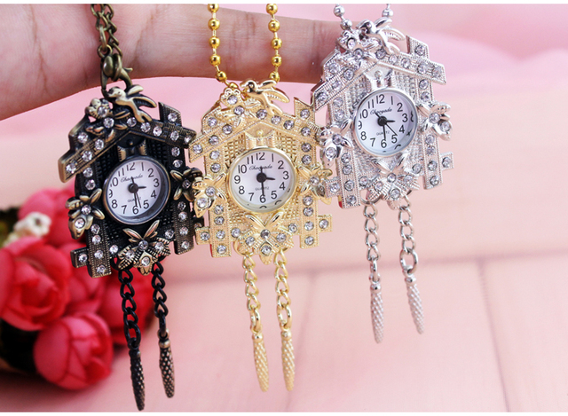 2016 new Hot sale Fashion antiques House design Pocket watch necklace flowers gi