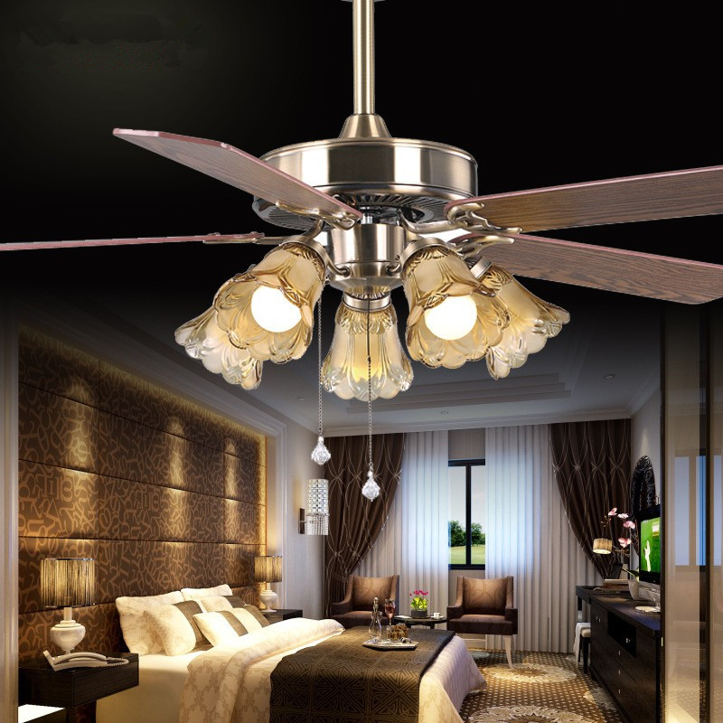 2016 European Luxury Dining Room Ceiling Fan Lamp Voltage Of 110 / 220V Zipper Switch