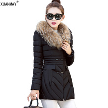 Down jacket Autumn and winter new women's long coat down jacket imitation fox fur collar thick warm fashion Slim down jacket
