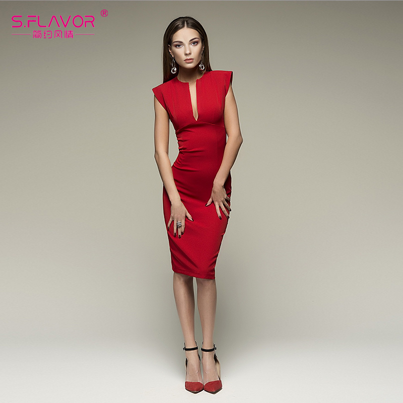 S.FLAVOR Women Nightclub Vestidos Spring Summer V-neck sleeveless Sexy Sheath short dress Elegant Women casual summer vestidos