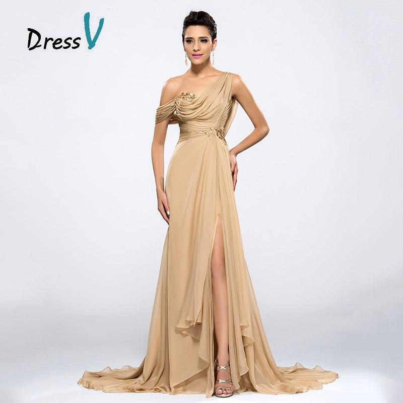 Dressv Billige Champagne Aftenkjoler 2017 Draped One Shoulder Long - Spesielle anledninger kjoler - Bilde 3