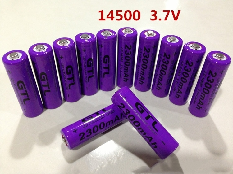 1pcs lithium battery <font><b>3.7v</b></font> AA rechargeable Li-Ion battery <font><b>14500</b></font> cell 2300mah for led flashlight toys clock camera remote control image