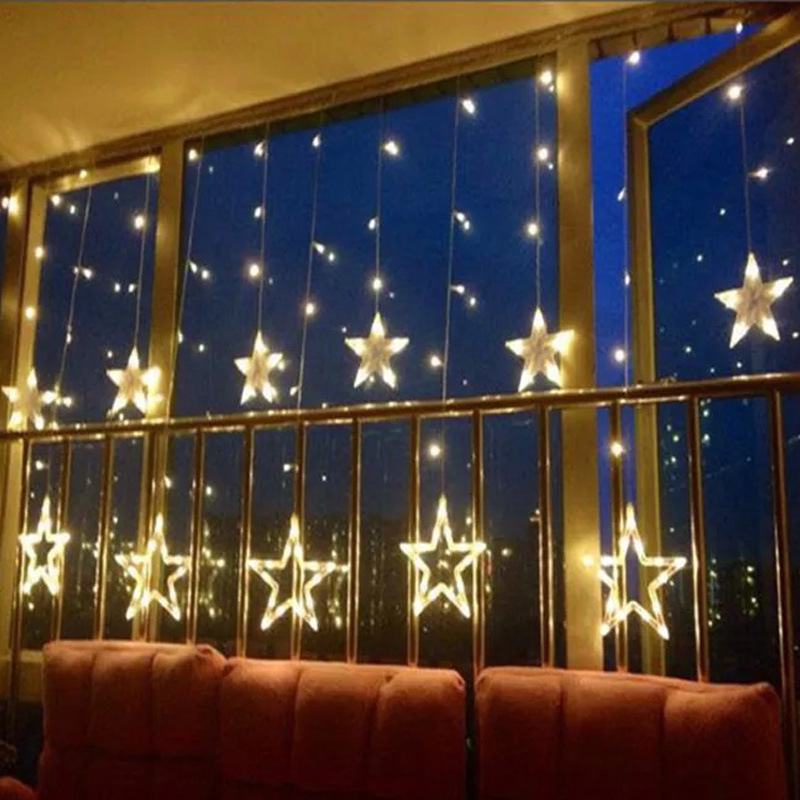 Star Fairy Lights Christmas New Year Valentie's Day Decoration LED String Light 2.5M*1M 138leds Shopping Mall Decorative Lights
