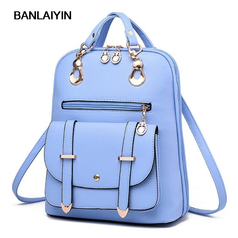 Nice New Fashion Women Backpack Girls Leather School Bag Women Casual Style Shoulder Bags Sweet Color