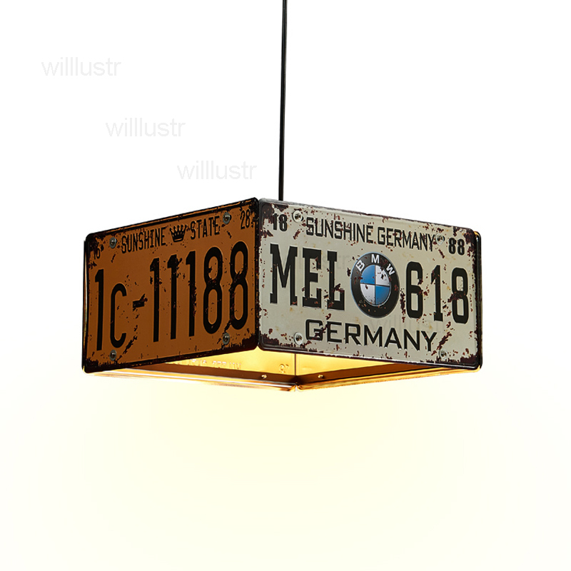 Vintage License Plate Pendant Lamp Metal Lighting Dinning Room Restaurant Hotel Loft Shop Iron Number Plate Suspension Light Sales Of Quality Assurance