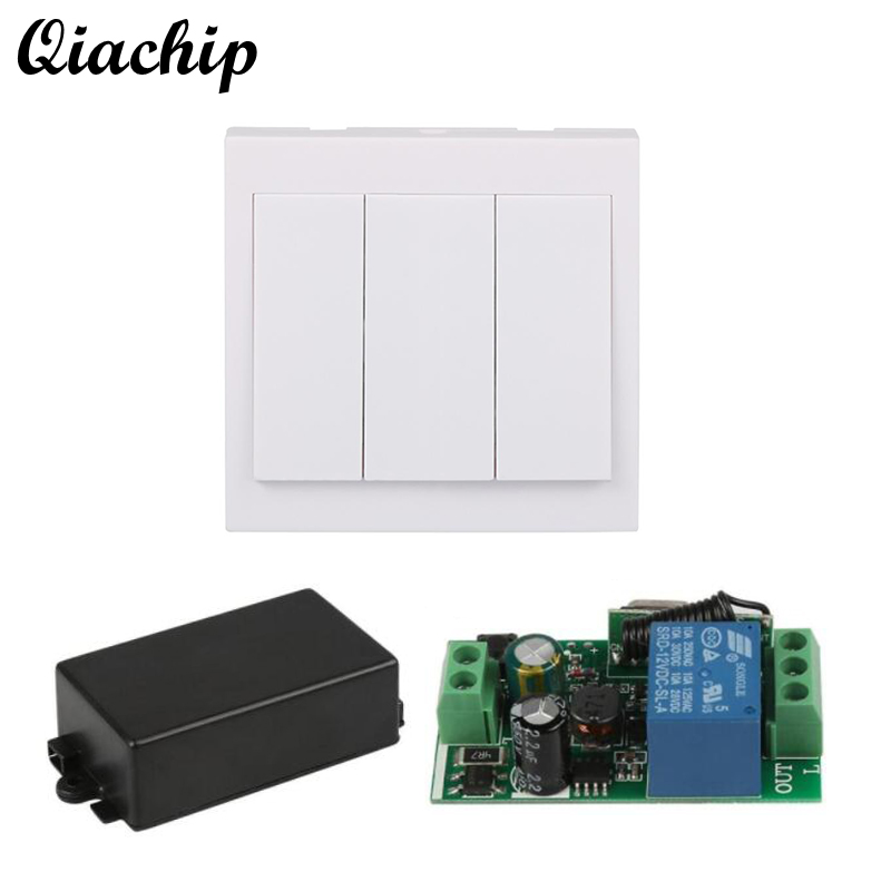 QIACHIP 433 Mhz Wireless Remote Control Switch AC 110V 220V 1 CH Re lay Receiver and 433Mhz 86 Wall Panel RF Remote Transmitter dc24v remote control switch system1receiver