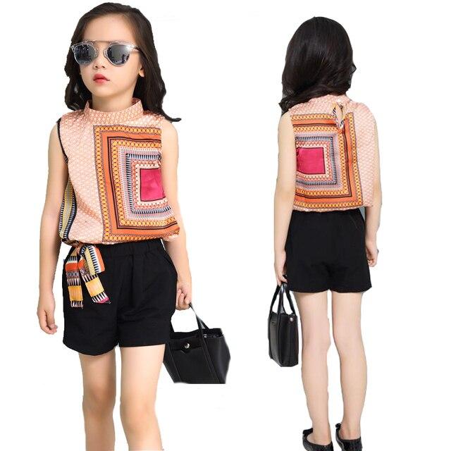 2bd61850f62e Conjuntos de ropa para Niñas Grandes sin mangas camisetas bohemias para  niñas pantalones cortos 2 piezas