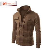 Jacket Men Brand Clothing Mens Jackets Coats Zipper Fashion Fake Pocket Design Male Jacket Casual Slim Fit Cotton Outerwear