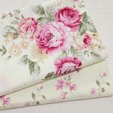 Хлопок саржа бежевый с розовым цветочным пасторальным цветком DIY для постельных принадлежностей Одежда для одежды стеганая отделочная ткань для дома