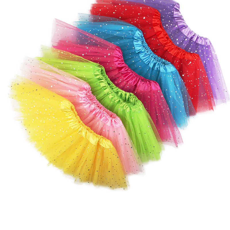 Summer Tutu Skirt Kids Baby Star Glitter Dance For Girl Sequin 3 Layers Tulle Toddler Lace Pettiskirt Children Chiffon 2-12Year