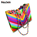 High capacity Women Fashion Korean Brand Designer Messenger Bags Candy Rainbow chain bag Shoulder Bag