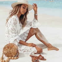 Woman Summer Beach Dress Lady Girls Bikini Cover Up Floral Lace Hollow Crochet Swimsuits Cover-Ups Bathing Suit Beachwear Tunic
