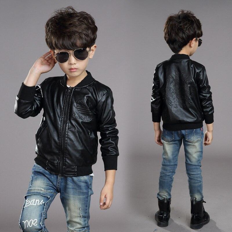 Children wear new children jacket boy winter, plus velvet coat big thick Pu shirt for children
