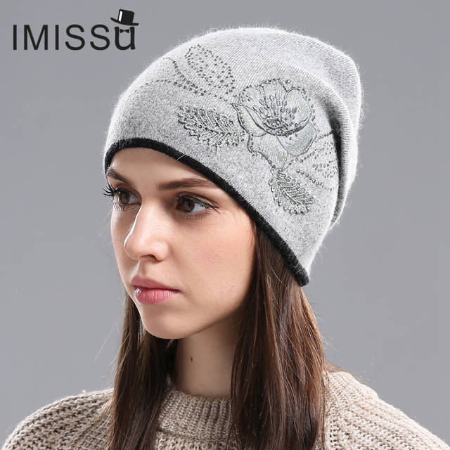 a173815273c38 Online Shop IMISSU Women s Winter Hats Knitted Wool Skullies Casual Cap  with Flower Pattern Gorros Thick Warm Bonnet Beanie Hat for Women