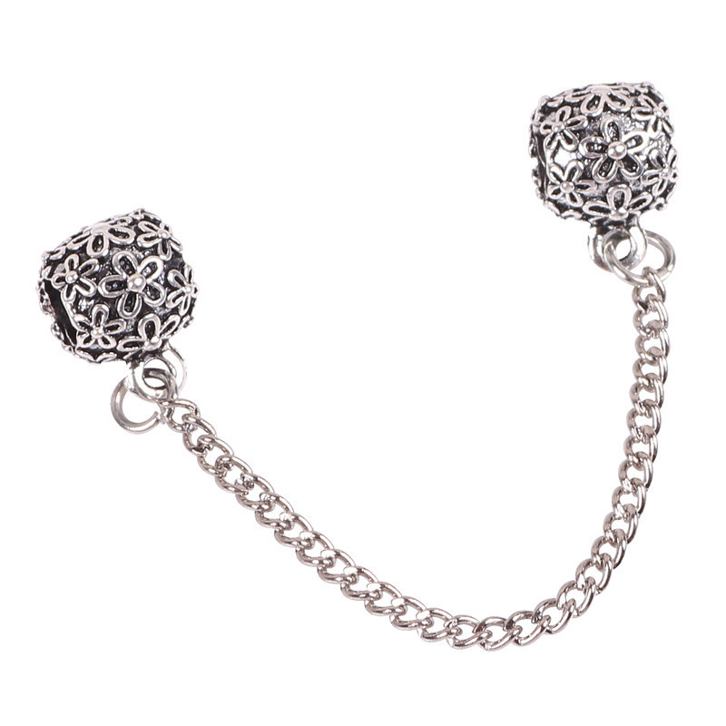 Couqcy 1pcs fashion Silver Screw Hole Safety snake Chain Charm Beads,women DIY Thread Jewelry Fits Pandora Bracelet European