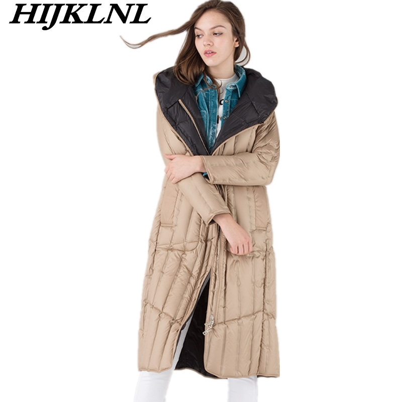 2019 New Two-side-wear Women Winter   Down     Coat   Loose Long   Down   Jacket Women Temperament Thicken   Coat   Fashion Warm Outerwear CW099