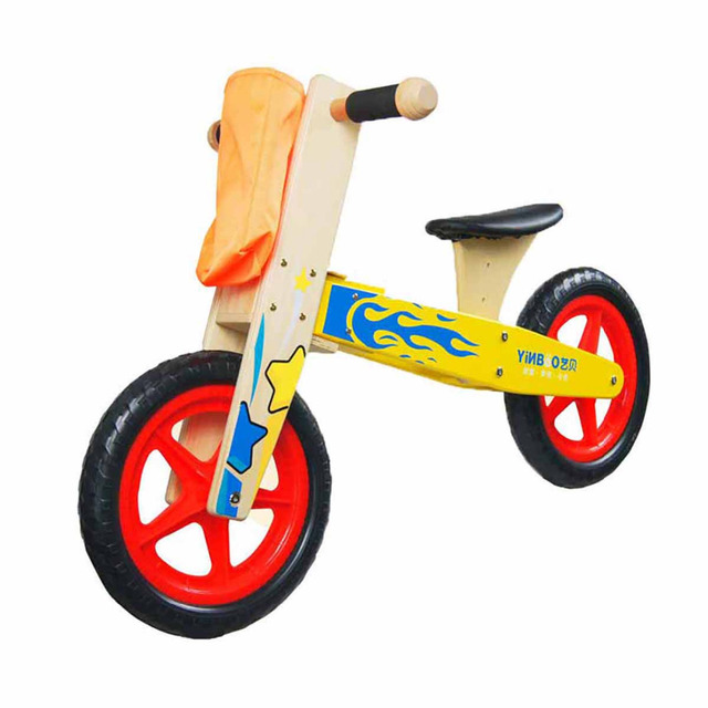 Mini Wooden Ride On Balance Bike No Pedal Push Bicycle Walking Trainer Outdoor Toy For