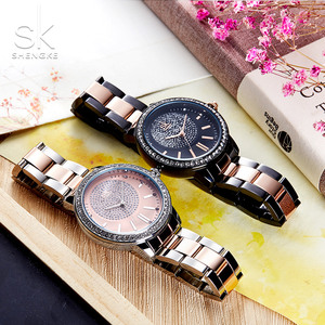 Image 5 - SHENGKE עלה זהב שעון נשים קריסטל קישוט יוקרה קוורץ שעון נשי שעון יד ילדה שעון גבירותיי Relogio Feminino