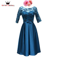 Tea Length Half Sleeve Satin Lace Blue Short Real Evening Dresses Evening Gown 2018 New Fashion Party Dress Robe De Soiree DR10