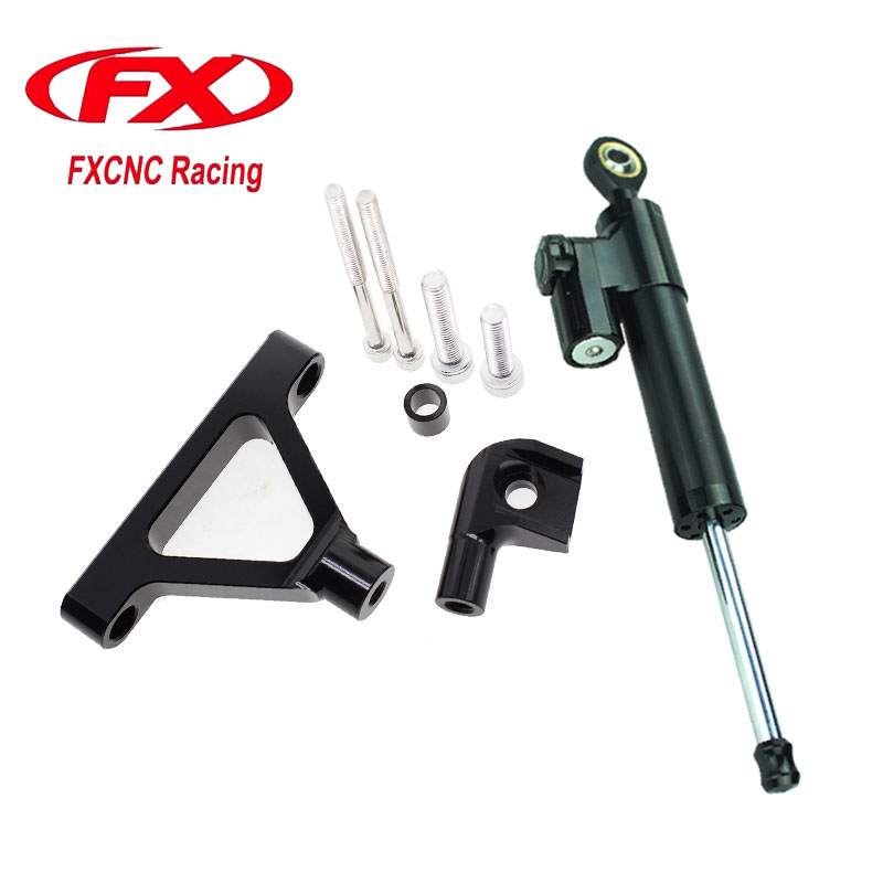 For Kawasaki ZX6R 2007-2008  Motorcycle Aluminum CNC Adjustable Steering Damper Stabilizer Mounting Bracket Support Kits