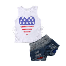 kids summer clothes 4th of july outfit 2018 2019 boutique baby girl christmas cotton print flag