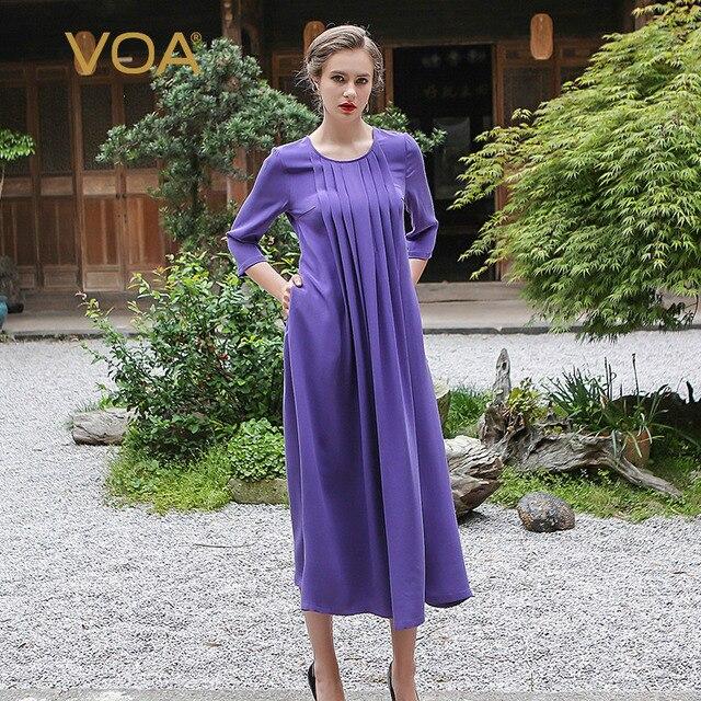 VOA Plus Size Loose Heavy Silk Pearl Clasp Women A Line Dress Casual  Lavender Purple Brief Vintage Long Dress Spring ALA01101 1a6ba9372e