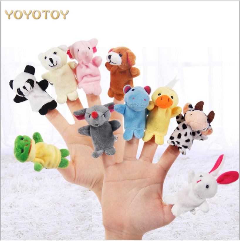 10pcs/lot Hot Sale Animal Hand Puppets Finger Toys Baby Dolls Plush Toys Puppets For Bedtime Stories Christmas Toys for Children