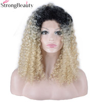 StrongBeauty Long Synthetic Curly Hair Blonde With Black Root Heat Resistant Fiber Black Women's Full Wig Lace Front Wigs