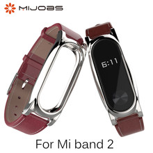 Xiaomi Mi Band 2 PU Leather Strap Metal Frame for MiBand 2 Smart Bracelet PU Plus leather strap For Mi Band 2 Accessories(China)