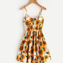 Backless Sunflower Print Dress Women V Neck Off Shoulder Strap Mini A-Line Dresses