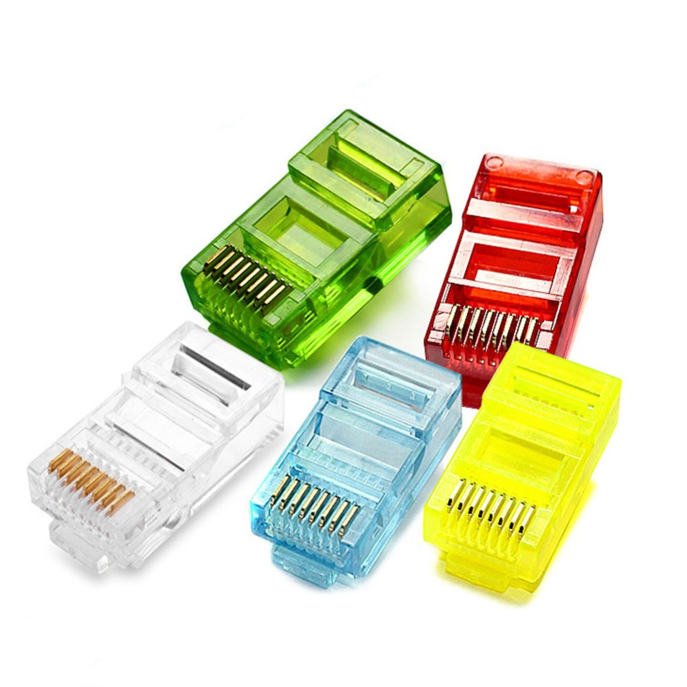 10pcs Colorful RJ45 Modular Plug Network Cable LAN Connector Plug End 8P8C CAT5 CAT5E Random Color