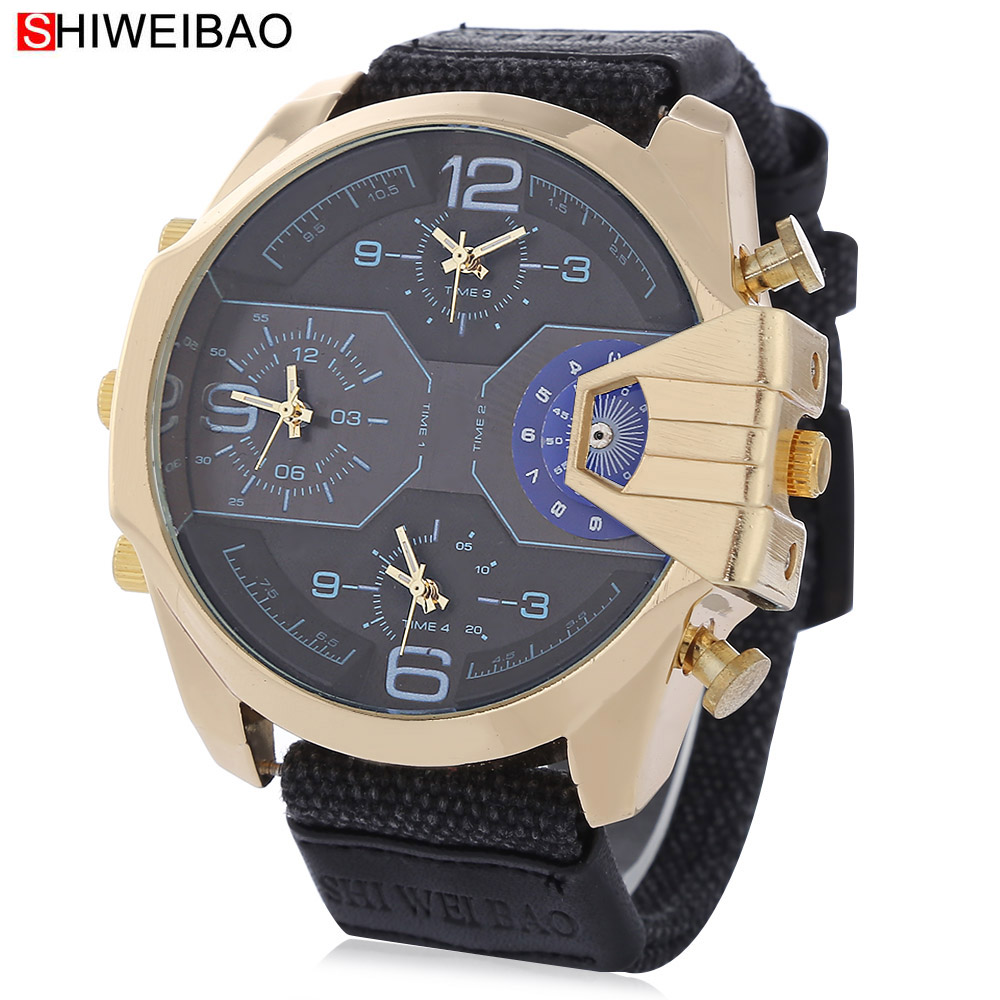 Cool Big Watches For Men Golden Case Mens Quartz Wristwatches Four Time Zones Military Relogio Masculino Canvas Watchband Hours