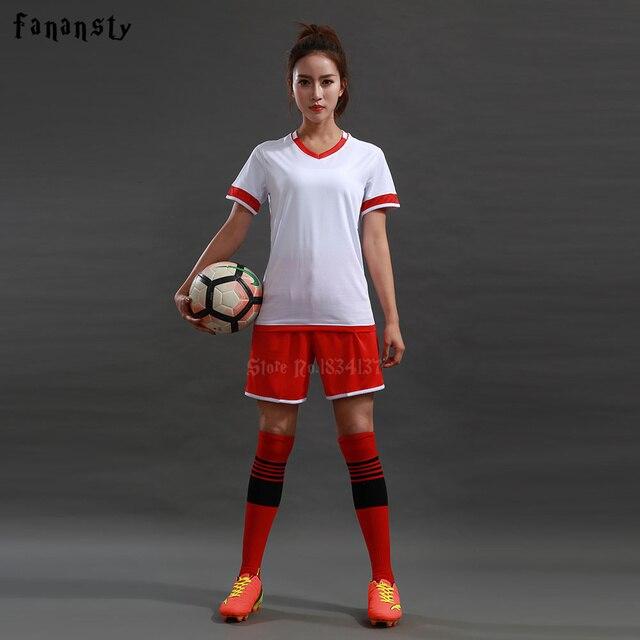 b9a9581771e Top quality Soccer Uniforms Sets Women Survetement Customized Football  jerseys Girls Team Soccer Uniforms DIY kits New 2018