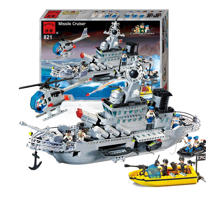 821 ENLIGHTEN 843Pcs Military Series Missile Cruiser 9 dolls Model Building Blocks DIY Figure Toys For Children Compatible Legoe enlighten military series missile cruiser building blocks sets 843pcs educational construction bricks diy toys for children 821