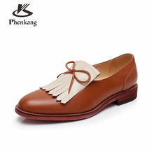 Genuine leather brogues yinzo woman flats shoes vintage hand