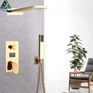 Image 5 - Luxury Bath Shower Mixer Kits Digital Display Wall Mounted  Rain Waterfall Shower Head Chrome Shower Faucet with Handshower