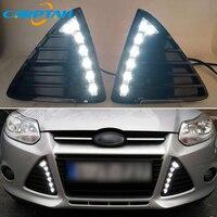 Carptah LED Daytime Running Lights DRL Day Light Fog Lamp For Ford Focus 3 MK3 2012 2013 2014 Dimming Style Relay Waterproof