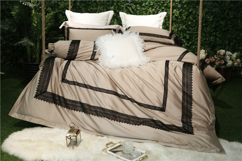 Khaki color/Pink luxury Lace Embroidery 60S Egyptian cotton Comfortable Bedding Set Duvet Cover Bed Linen Bed sheet Pillowcases