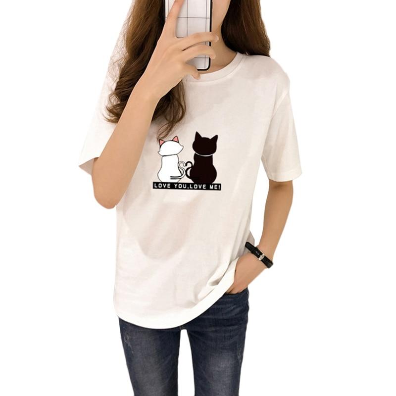 Causal Summer Women T-shirt Two Cats Print T-shirts Women Short Sleeve O Neck Cotton Tops Tees Slim T Shirt 5