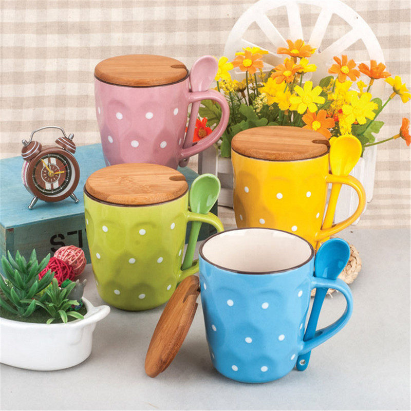 2017 New High Quality Speckle Mug Fashion Lovers Ceramic Cup with Lid Creative Hand-painted Ceramics Coffee Cup Mug Milk Tea Cup