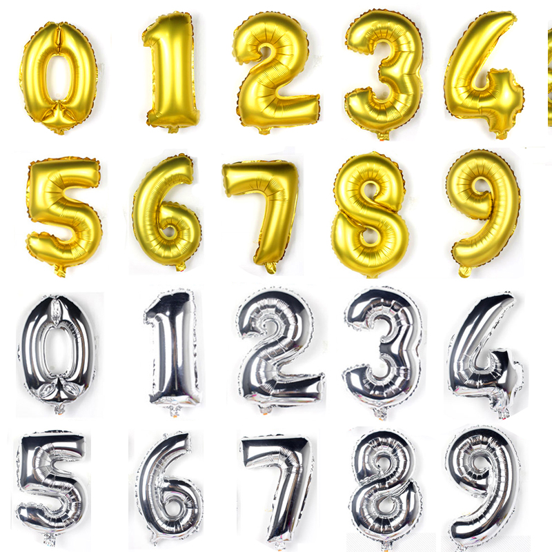 32inch Helium Balloon Gold Silver big wedding happy Birthday foil balloons balloons <font><b>decoration</b></font> number giant balloon Party ballon