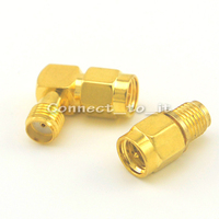 SMA Male to Female + SMA Male to SMA Female RA Connector Adapter Goldplated